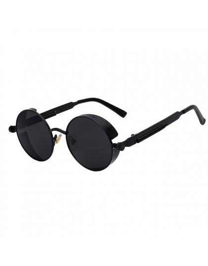 Steampunk okulary przeciwsłoneczne damskie okrągłe okulary