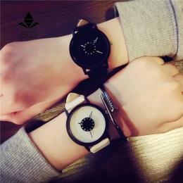 Hot moda kreatywny zegarki kobiety mężczyźni quartz-zegarek 2017 BGG marki unikalne dial design zakochanych watch skórzany zegar