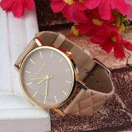 Nowy zegarek kobiety Warcaby Faux lady dress watch, damska Casual Skórzany zegarek Analogowy zegarek kwarcowy-Prezenty relogios