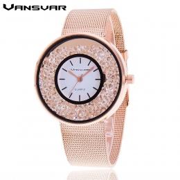 Hot Sprzedaż Moda Ze Stali Nierdzewnej Wzrosła Złoty i Srebrny Pasek Zegarek Kwarcowy Luksusowe Kobiety Rhinestone Zegarki Walen