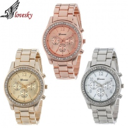 Lovesky 2017 New Fashion Faux Chronograph Plated Klasyczne Genewa Quartz Ladies Watch Kobiety Crystals Rękę Relogio Feminino