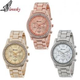 Lovesky 2017 New Fashion Faux Chronograph Plated Klasyczne Genewa Quartz Ladies Watch Kobiety Crystals Rękę Relogio Feminino