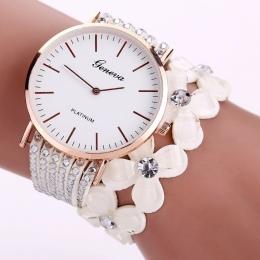 Moda Genewa Kreatywny Zegarki Kobiety Casual Elegancka Bransoletka Quartz ladies Watch Kryształ Diament Wrist Watch Prezent Relo