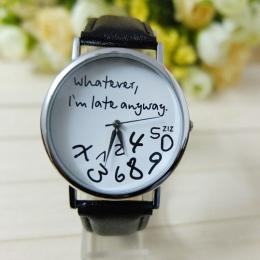 Cokolwiek Mance jestem Tak Późno List Wzór Skóra Mężczyzn kobiety Zegarki Świeże Nowy Styl Kobieta Zegarek Pani Oglądać Gorące s