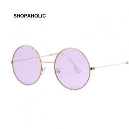 Vintage Okrągłe Okulary Przeciwsłoneczne Kobiety Ocean Kolor Soczewki Lustrzane Okulary Kobiet Marki Konstrukcja Metalowa Rama K