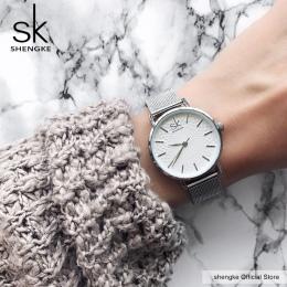 SK Super Slim Sliver Siatki Ze Stali Nierdzewnej Kobiet Zegarki Top Marka Luksusowe Casual Zegar Panie Wrist Watch Lady Relogio