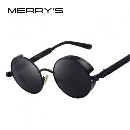 MERRY'S Rocznika Kobiety Steampunk Okulary Brand Design Okrągłe Okulary Óculos de sol UV400