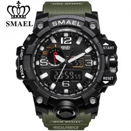 SMAEL Marka Men Sport Zegarki Podwójny Wyświetlacz Analogowy Cyfrowy LED Elektroniczny Kwarcowe Zegarki Na Rękę Wodoodporna Pływ