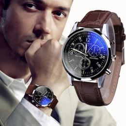 Moda Faux Leather Mens Analogowe Kwarty Zegarki Niebieski Ray Mężczyzn Wrist Watch 2018 Męskie Zegarki Top Marka Luksusowe Casua