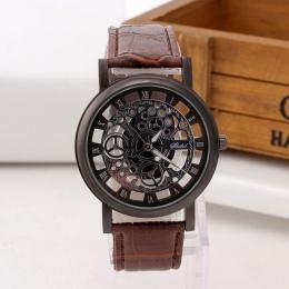 Biznes moda Skeleton Watch Mężczyźni Grawerowanie Hollow Sukienka Zegarek Kwarcowy Skórzany pasek Kobiety Zegar Reloj Hombre Rel
