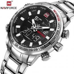 NAVIFORCE Mężczyzna Quartz Analog Watch Luxury Fashion Sport Zegarki Wodoodporne Nierdzewnej Męskie Zegarki Zegar Relogio Mascul