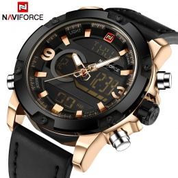 NAVIFORCE Luksusowa Marka Mężczyźni Analogowe Cyfrowe Skórzane Sportowe Męskie Zegarki Army Military Watch Człowiek Quartz Zegar
