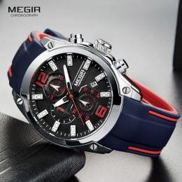 Megir Chronograph męska Kwarcowy Analogowy Zegarek z Datą, świetliste Dłonie, wodoodporna Silicone Rubber Strap Wristswatch dla