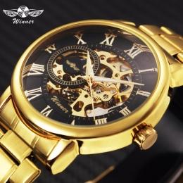 ZWYCIĘZCA Klasyczny Złoty Skeleton Mechaniczny Zegarek Mężczyźni Stali Nierdzewnej Pasek Top Marka Luksusowe Man Watch Vip Drop