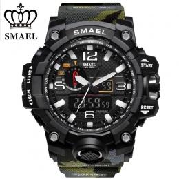 SMAEL Marki Sportowe Zegarki Mężczyźni Dual Time Kamuflaż Military Watch Mężczyźni Armia LED Cyfrowy Zegarek 50 M Wodoodporny mę