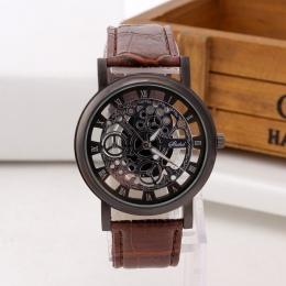Moda Skeleton Watch Mężczyźni Grawerowanie Hollow Reloj Hombre Sukienka Zegarek Kwarcowy Skórzany Pasek Kobiety Zegar Relojes Mu
