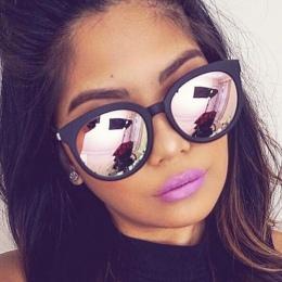 Cat eye różowe okulary kobieta kobiece lustro kwadratowe okulary słoneczne odcienie dla kobiety coating oculos 2017 marek mody o