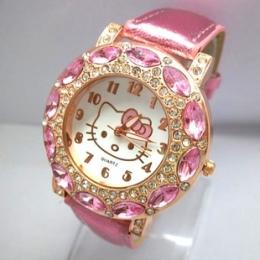 Hot Sprzedaży Piękny Hello Kitty Zegarka Dzieci Dziewczyny Kobiety Moda Kryształ Sukienka Kwarcowe Zegarki Na Rękę Dzieciom Oglą