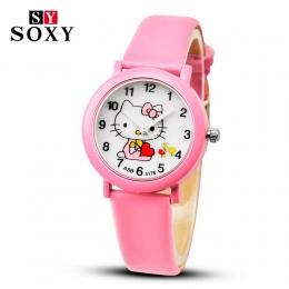 2018 Kreskówki Hello Kitty Zegarki Kid Dziewczyny Skórzane Pasy Zegarek Dzieci Hellokitty Zegarek Kwarcowy Śliczne Zegar Montre