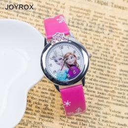 JOYROX Hot Księżniczka Elsa Wzór Dzieci Oglądają Moda Kryształ Cartoon Skórzany Pasek Zegar Kwarcowy Zegarek Na Co Dzień Dziewcz