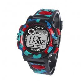 Chidren HONHX Wielofunkcyjne Zegarki Cyfrowe Chłopcy Dziewczyny Dziecko Guma Sport Elektroniczny Zegarek Na Rękę Dla Dzieci LED