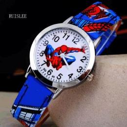 Ruislee Gorąca Sprzedaż Zegarek Zegarek SpiderMan Kreskówka Dzieci Zegarki Gumowy Zegarek Kwarcowy Prezent Dzieci Hour reloj mon