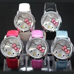 Wysokiej Jakości Słodkie Hello Kitty Cartoon Zegarki Dzieci Dziewczyny Kryształ Sukienka Quartz Wrist Watch Montre Enfant Mix Ko