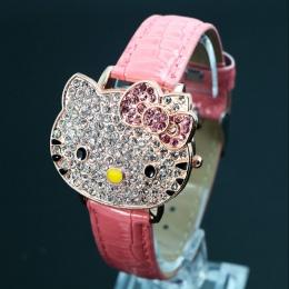 Hot Sprzedaży Śliczne Skóra Hello Kitty Zegarka Dzieci Dziewczyny Kobiety Kryształ Sukienka Zegarek Kwarcowy Relogio Feminino 04
