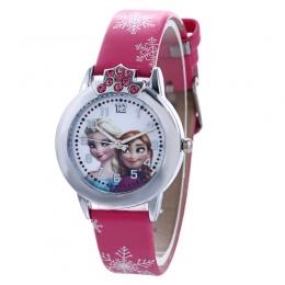 Kwarcowy Zegarek Marki mody Słodkie Dzieci Dzieci Dziewczyny Cartoon Wrist Watch Zegarek Skórzana Bransoletka Kryształ Zegar 8A0