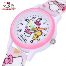 Hello Kitty Dzieci Zegarki Dziewczyny Dzieci Różowy Sukienka Wrist Watch Słodkie Kreskówki Dla Dzieci Silikonowe Dla Niemowląt E