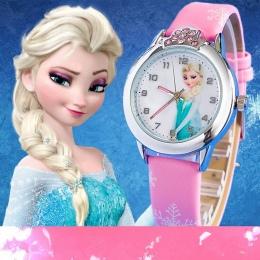 2018 Przedsprzedaż Nowy Cartoon Dzieci Oglądają Księżniczka Elsa Anna Zegarki Mody Dziewczyna Dzieci Uczeń Śliczny Skórzana quar