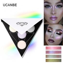 UCANBE Marki Triangle Holograficzny Glitter Eyeshadow Paleta Cień Do Oczu Twarzy Makijaż Shimmer Lip Shine Proszku Nago Cień Do