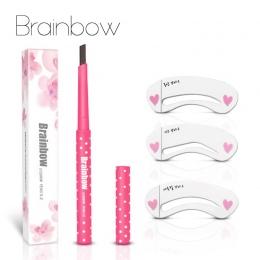 Brainbow Brwi Ołówek Bardzo Trwała Wodoodporna Trwałe Automatyczne Brwi Liner + 3 Brwi Kształt Szablony Grooming Kit Makijaż Nar