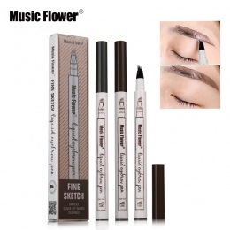 3 kolory Muzyka Kwiat Makijażu Marki Grzywny Szkic Cieczy Brwi Pen Wodoodporna Tatuaż Super Trwałe Eye Brow Pencil Rozmazywanie-