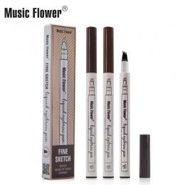 Muzyka Kwiat 3 Kolory Makijaż Grzywny Szkic Cieczy Brwi Pen Wodoodporna Tatuaż Super Trwałe Eye Brow Pencil Rozmazywanie-dowód
