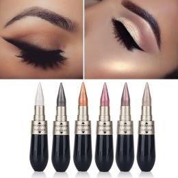 1 sztuk Dwukrotnie koniec 2-in-1 Pearly Glimmer Wodoodporna Eyeshadow Czarny Eye Liner Pen Szybkie Suche kobiety Eye Makeup Kosm
