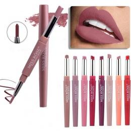8 Kolor Dwukrotnie koniec Lip Makeup Pencil Wodoodporna Długotrwałe Szminki Matowy Odcień Sexy Czerwone Wargi Kij Piękno Liniowe