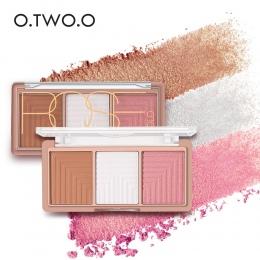 O. DWA. O 4 Kolory Wyróżnienia Powder Blush Brush Paleta 3D Twarzy Contour Wyróżnienia Cieniowanie Powder Twarzy Make up