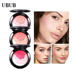 UBUB Rose Flower Pieczone Róż Palette Słodkie Urocze Policzek 3 Kolory Mineral Blush Twarzy Fundacja Contour Makijaż Krem Proszk