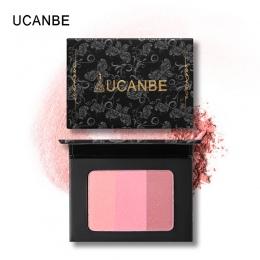 UCANBE Marka 3 W 1 Mineral Blush Paleta Do Makijażu Twarzy Policzek Blusher Cieniowanie Puder Contour Naturalne Długotrwałe Kosm