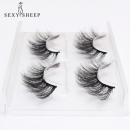 SEXYSHEEP 2 pairs naturalne sztuczne rzęsy fałszywe lashes makijaż zestaw 3D Mink Lashes przedłużanie rzęs mink rzęsy maquiagem