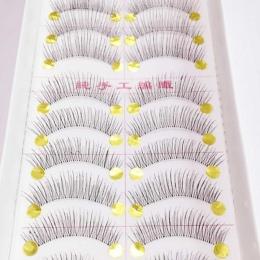 Dość Długie sztuczne Rzęsy 10 Pairs Makijaż Naturalny Fałszywy Gruby Eye Lashes Czarny Nautral Handmade Beauty Tools