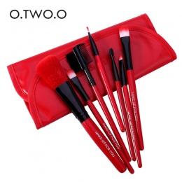 O. DWA. O Pędzle Do Makijażu Zestaw 7 sztuk/partia Miękki Syntetyczny Włosów Blush Eyeshadow Wargi Make Up Brush Z Skórzanym Etu