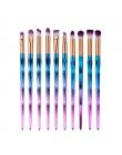 Rainbow Pędzle Do Makijażu Makeup Muśnięcie Zestaw 10 sztuk Rhinestone Tools Pro colrful Oczu Lip Concealer Face Powder Foundati