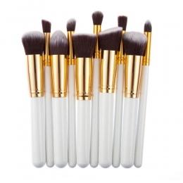 10 sztuk Srebrny/Złoty Makeup Muśnięcie Ustawia Kosmetyki Fundacja Blending Blush Makijaż Narzędzie Powder Eyeshadow Kosmetyczne