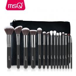 MSQ Pro 15 sztuk Zestaw Do Makijażu Pędzle Powder Foundation Eyeshadow Make Up Szczotki Kosmetyki Miękkie Włosy Syntetyczne Z PU
