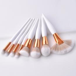 8 sztuk/zestaw zestaw makeup brush miękki syntetyczny głowy drewna uchwyt szczotki wentylatora flat brush zestaw dla kobiet eyes