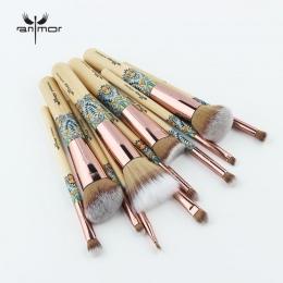 Nowy Makijaż Szczotki 12 sztuk Zestaw Bambusa Make Up Brush Miękki Syntetyczny Kolekcja Zestaw z Proszku Konturu Cień Do Powiek