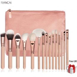 15 sztuk Różowy Makijaż Szczotki Zestaw Kompletny Zestaw Pincel Maquiagem Oczu Powder Kabuki Brush Kosmetyki Beauty Tools z Skór
