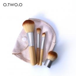 O. DWA. O 4 sztuk/partia Bambusa Szczotka Szczotka Fundacja Make-up Szczotki Kosmetyczne Puder Do Twarzy Pędzel Do Makijażu Urod